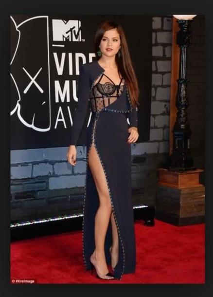 dress, selena gomez, navy, style, underwear, bralette, black dress ...
