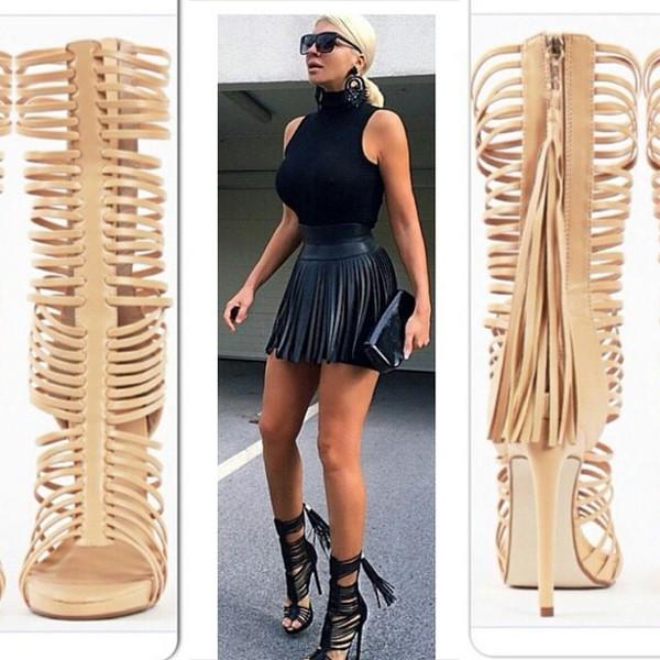 Shoes: beige, style, heels, straps heels black tan peep toe, sexy ...