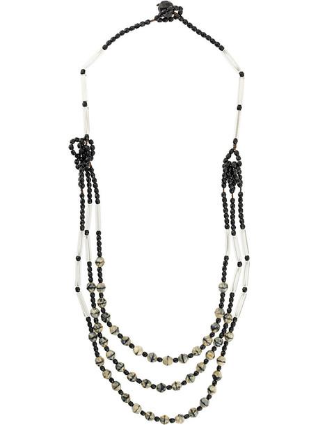 Armani Collezioni women layered beaded necklace black jewels