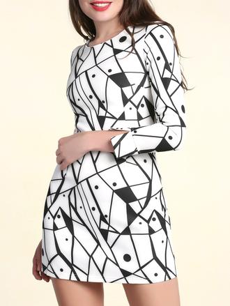 dress dressfo trendy casual black dress black and white print geometric