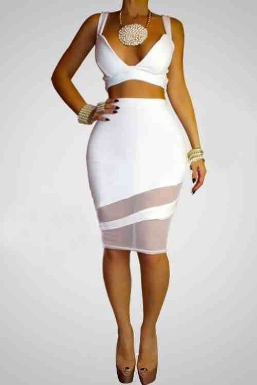 New Sexy Two-Piece White Bodycon Bandage Patchwork Lace Dress