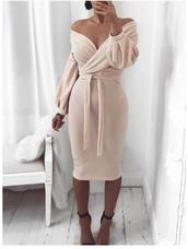 dress,cream,off the shoulder,tie front,belt,midi dress,long sleeves,long sleeve dress,women,pink dress,off the shoulder dress,bardot,baby pink,pink,bodycon dress