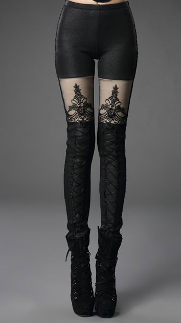 Punk Rave - Black Gothic Embossed Macbeth Winter Leggings [K-244] - £39.99 :
