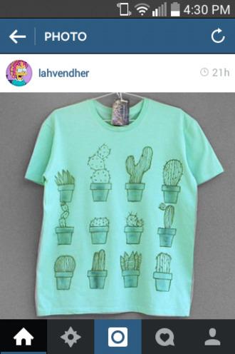 t-shirt cactus cactuses mint green shirt watercolor