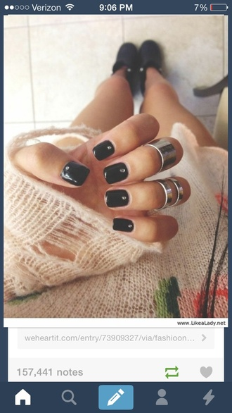 shoes sweater black diamonds nail polish knitwear cream top acrylic