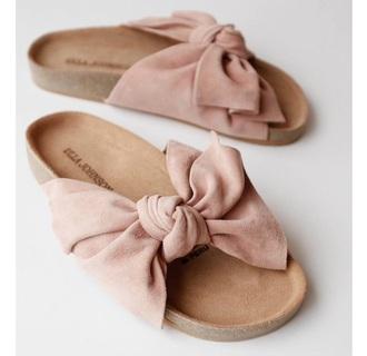 shoes pink soft velvet pale sandals flats