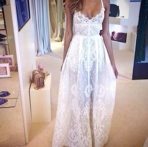 long lace dress beach dress white