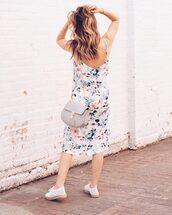 dress,tumblr,floral,floral dress,midi dress,slip dress,bag,espadrilles,shoes,white shoes,grey bag