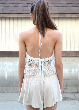 shorts white beige lace tank top
