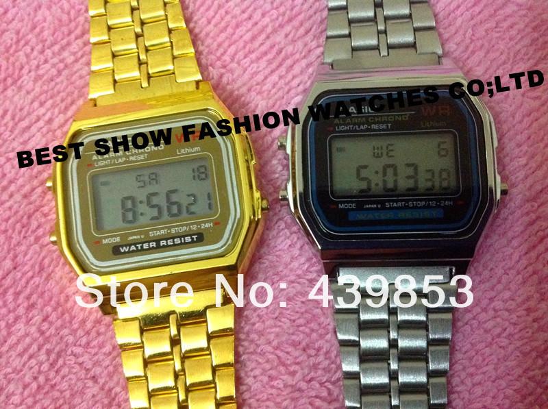 free shipping good quality A159W gold digital watch f91w silver digital watch cas a159w led watch ladies fashion digital watch-in Wristwatches from Watches on Aliexpress.com