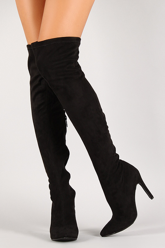 Suede Stiletto Thigh High Boot
