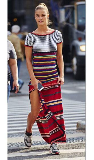 dress spring dress stripes striped dress nina agdal sneakers model slit dress summer dress maxi skirt maxi dress