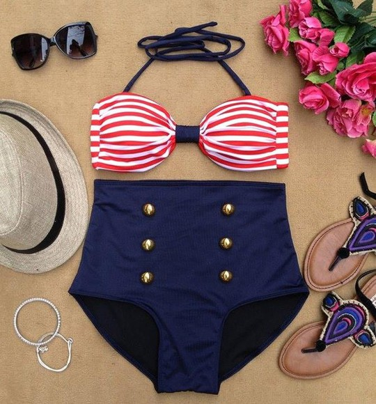 swimwear bikini blue bikini blue red vintage retro highwaisted shorts sailor striped bikini high waist bikini high waisted bikini