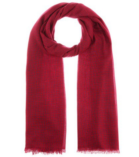 scarf wool houndstooth red