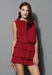 top,loving ruffles top and skirt set in wine,chicwish,summer,wine,boho