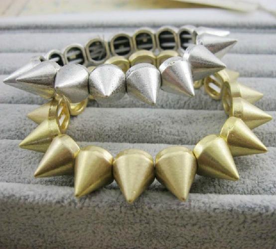 Fashion multi spike stud stretch punk gothic bracelet free shipping