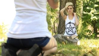 tank top alysha nett clothes snake eye pentagram white