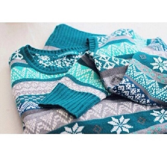 sweater blue sweater christmas sweater grey torquioise