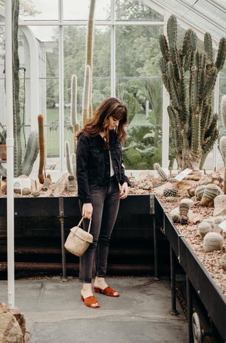 the mop top blogger jacket jeans bag shoes mules basket bag denim jacket spring outfits