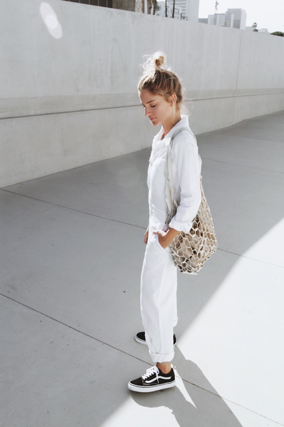 a81d9095d4 mija blogger jumpsuit bag jewels all white everything tumblr white jumpsuit  overalls dungarees grey bag sneakers