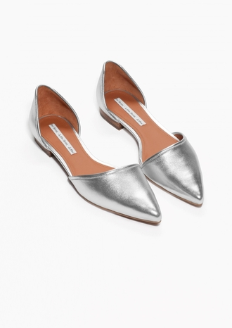 shoes metallic shoes pointed toe
