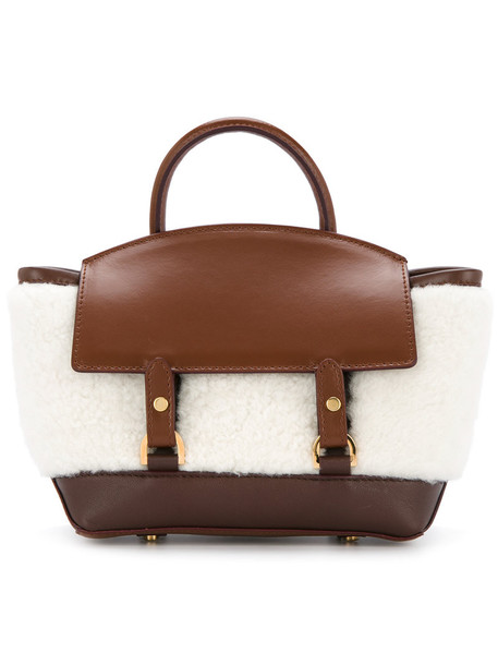 Sacai mini women fluffy bag mini bag leather nude