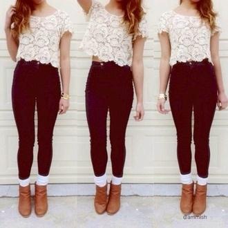shirt pants shoes jeans blouse lace t-shirt crop tops like it top