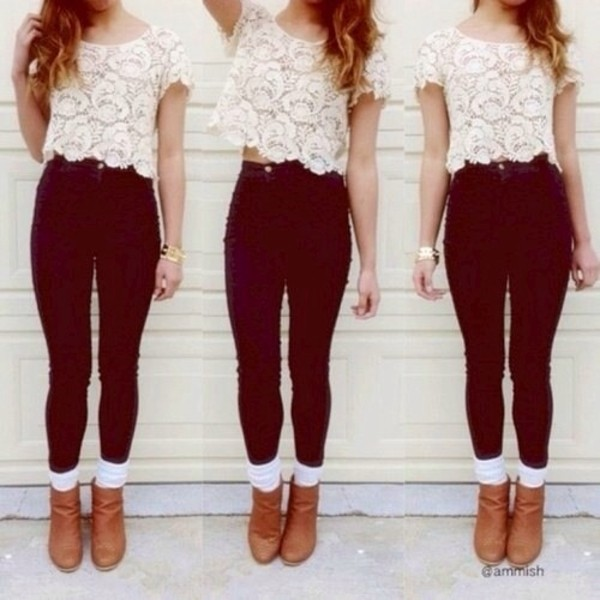 shirt pants shoes jeans lace white blouse t-shirt crop tops like it top boots ankle boots tank top