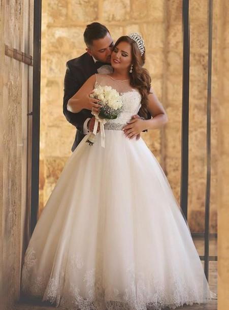 Dress A Line Wedding Dresses Arabic 2016 Lace White Ivory