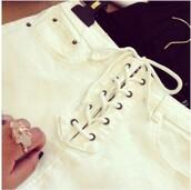 shorts,girly,girl,girly wishlist,white,lace up,short