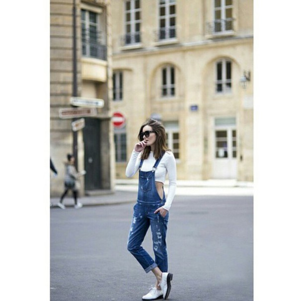 jumpsuit overalls white crop tops white oxfords sunglasses street streetwear streetstyle streetstyle streetwear streetlook streetstyle streetstyle trendy trendy trendy style style stylish teenagers tumblr outfit tumblr girl on point clothing