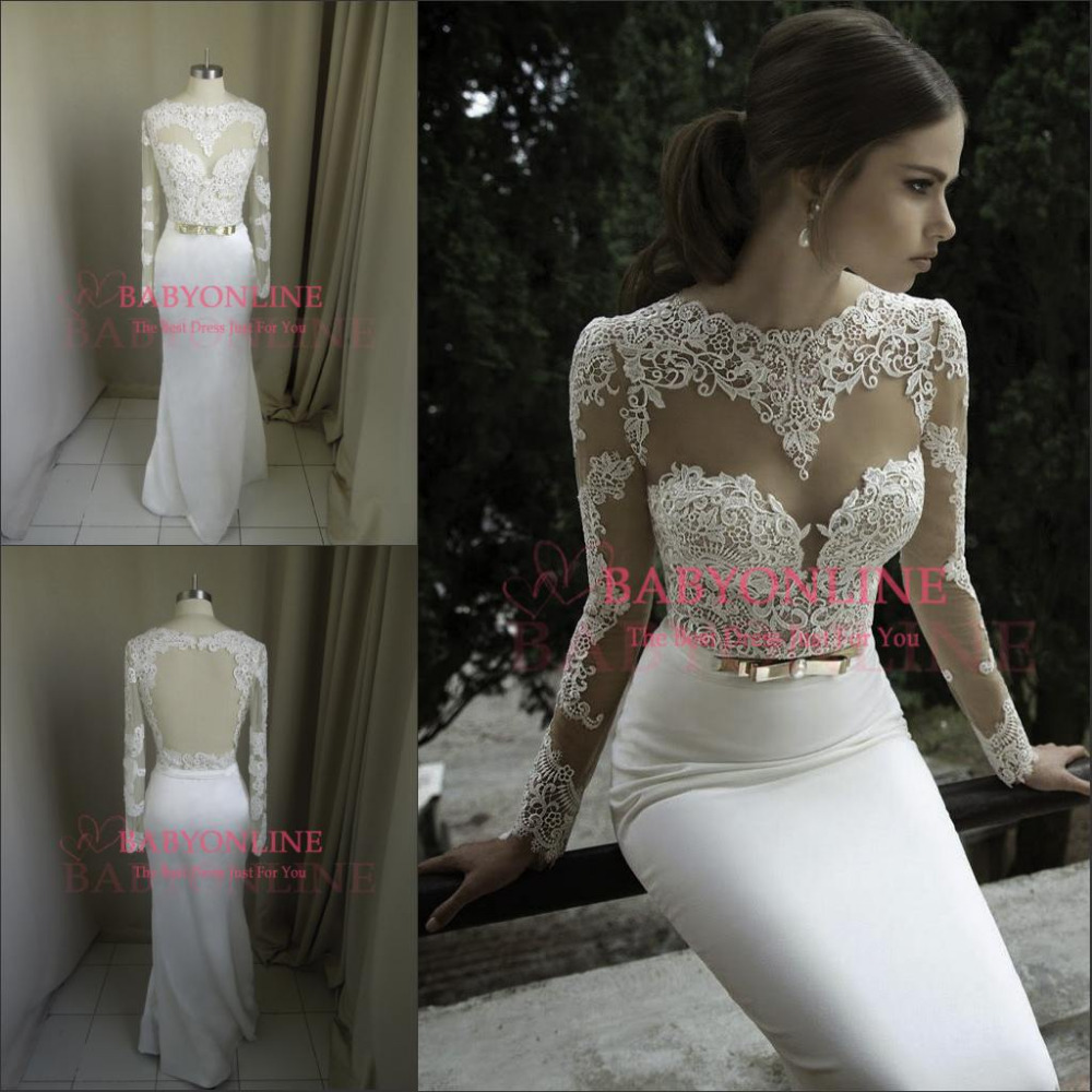 2014 New Arrival Vestidos De Noiva Sexy Long Sleeves Sheer Lace Mermaid Wedding Dresses Satin Bridal Weddings Dresses-in Wedding Dresses from Apparel & Accessories on Aliexpress.com