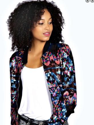 jacket sequins multi colored bomber jacket