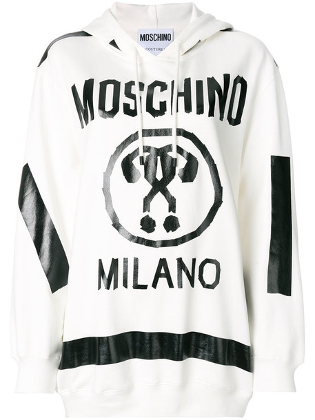 Moschino - Question mark logo hoodie - women - Cotton - 36, White, Cotton