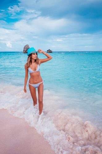 swimwear hat tumblr swimwear two piece bikini bikini top bikini bottoms blue bikini summer holidays
