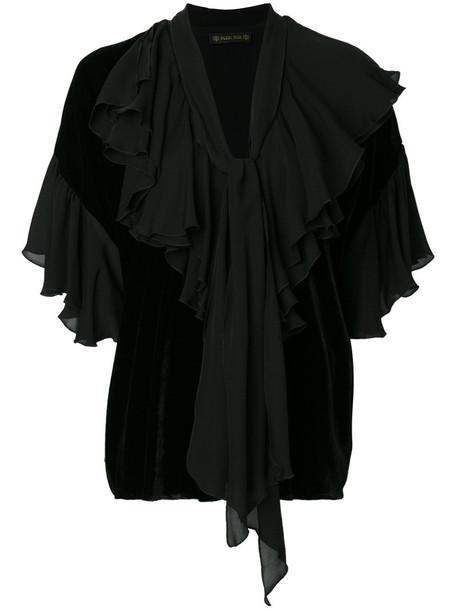 Plein Sud blouse women layered black silk top