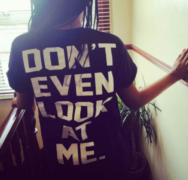 shirt dont look at me funny cute rude edgy hipster black white oversized t-shirt quote on it message black shirt oversized black shirt oversized shirt message tshirt t-shirt dont give a fuck don't let idiots ruin your day want nedd print don't even look at me casual lovely t-shirt