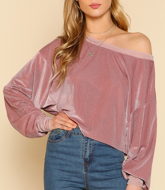 sweater girly pink sweatshirt off the shoulder off the shoulder sweater velvet