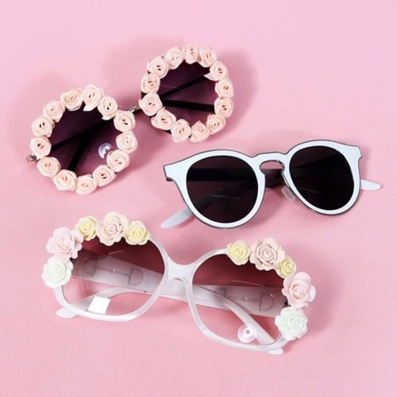 sunglasses girly vintage round stylish flower sunglasses rose pink funny white floral tumblr fashion cute hipster roses floral rosy