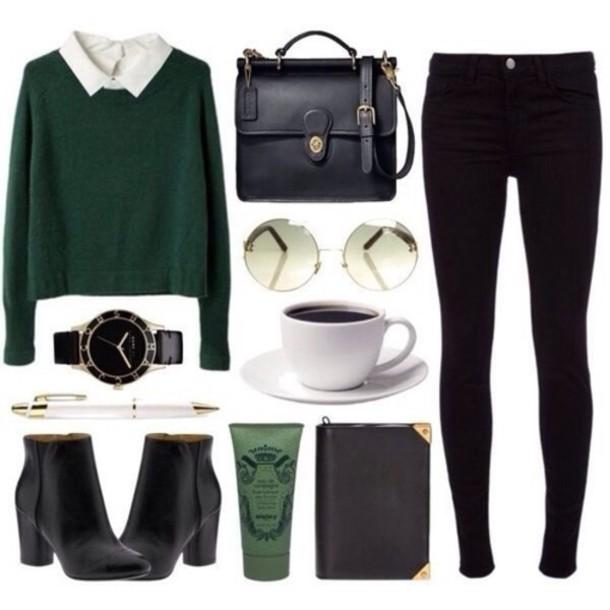sweater jeans bag boots sunglasses jewels blouse cardigan