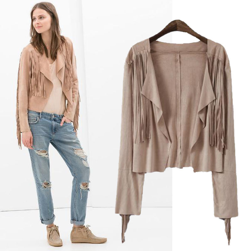Aliexpress.com : Buy European ZA style 2014 New Women's Coat Fashion Long Tassel Irregular Short Cardigan Chaquetas Fringed Leather Jacket Coat from Reliable coat hangers for sale suppliers on Vogue Official Online Shop
