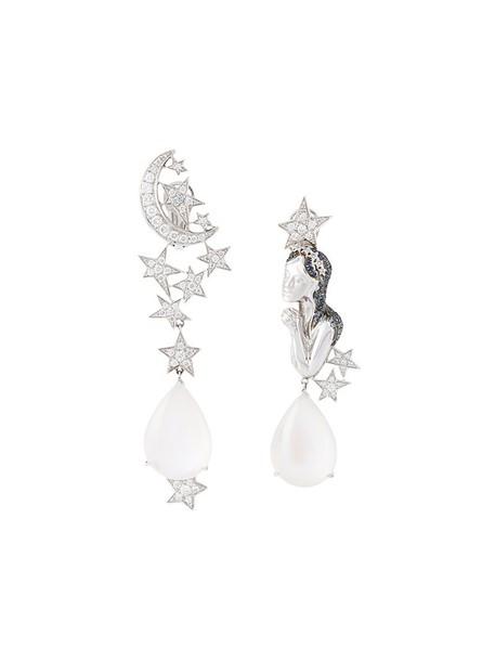 LYDIA COURTEILLE women earrings gold white grey metallic jewels