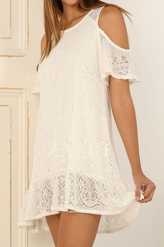 dress white fashion trendy lace off the shoulder cute girly zaful