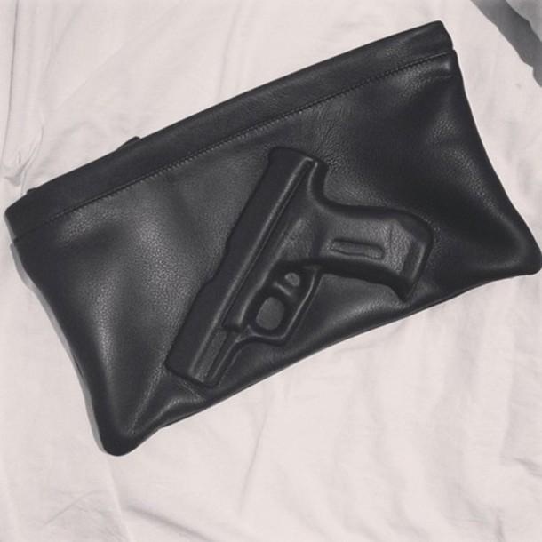 bag gun clutch pochette black cute handbag leather gun black bag