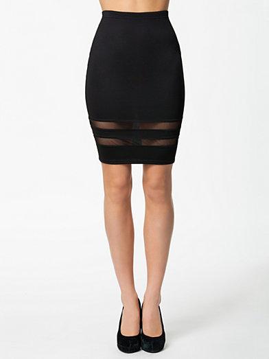 Mesh Insert Skirt - Oneness - Black - Skirts - Clothing - Women - Nelly.com
