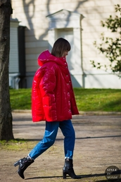 jacket,tumblr,red jacket,puffer jacket,jeans,winter jacket,denim,blue jeans,boots,black boots,ankle boots,high heels boots,streetstyle,hooded jacket