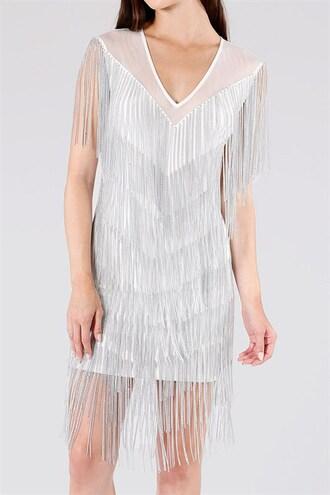 dress trendyish fringes chain new year's eve v neck sleeveless party sexy mini open back birthday