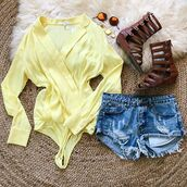top,yellow,fashion,bodysuit,one piece,fashion summer,summer outfits,trendy,dressy,cute,spring,bellexo