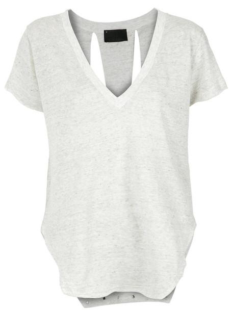 Andrea Bogosian blouse women spandex grey top