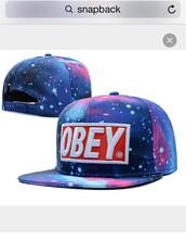 hat,galexy,snapback,snapback obey,obey